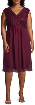Melrose Sleeveless Beaded Lace Fit & Flare Dress - Plus