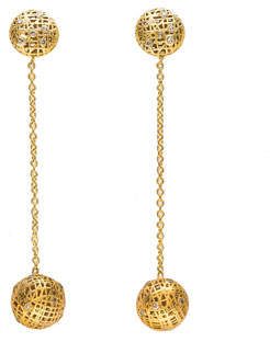 Yossi Harari Lace 18k Double Drop Earrings w/ Diamonds