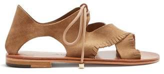 alvaro - Aida Fringe Suede Sandals - Womens - Light Tan