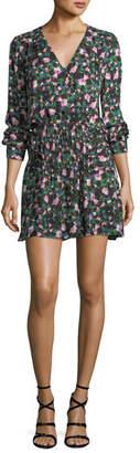 Veronica Beard Naomi V-Neck Long-Sleeve Painted Floral-Print Silk Dress