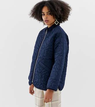 Monki zip through quilted jacket in navy