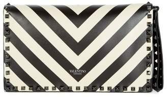 Valentino Rock Stud Striped Clutch