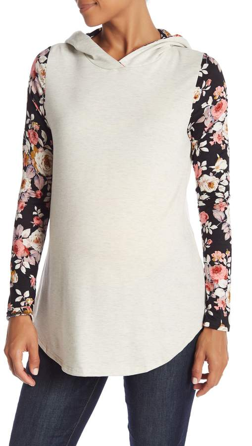 PinkBlush Maternity Floral Sleeve Hooded Top (Maternity)