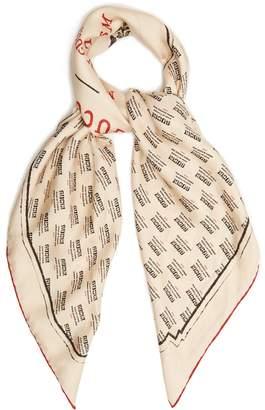 Gucci Invite-print silk-twill scarf