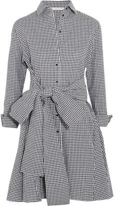 Maje - Tie-front Gingham Cotton Mini Dress - Black $275 thestylecure.com