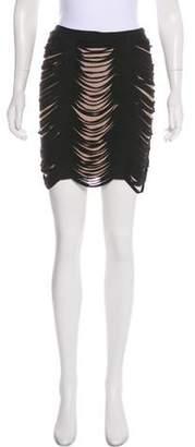 Herve Leger Mini Fringe Skirt