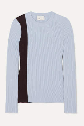 3.1 Phillip Lim Striped Ribbed Stretch Wool-blend Sweater - Mint