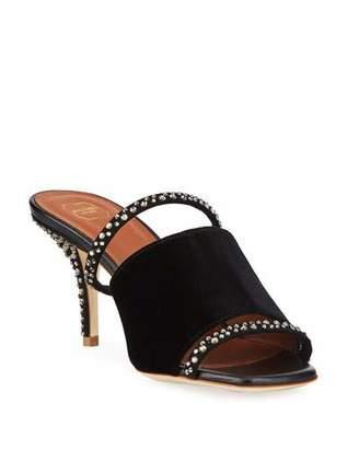 Malone Souliers Laney Crystal Velvet Slide Sandals