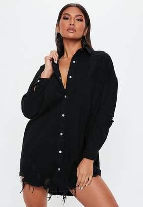 Missguided Black Distressed Hem Denim Shirt Dress