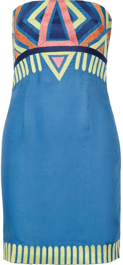Embroidered twill mini dress