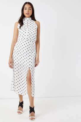 Glamorous Womens Polka Dot Midi Dress - White