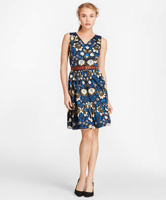 Brooks Brothers Floral-Print Cotton Sateen Flounce-Hem Dress