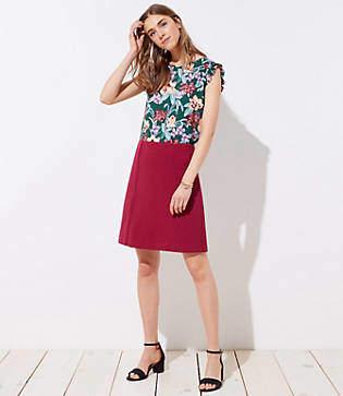 LOFT Tall Scalloped Trim Shift Skirt