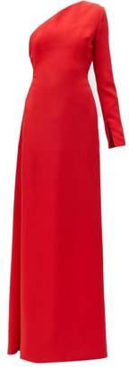 Carolina Herrera One Shoulder Asymmetric Silk Twill Gown - Womens - Red