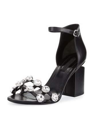 Alexander Wang Abby Dome-Studded Tilt-Heel City Sandal, Black $595 thestylecure.com
