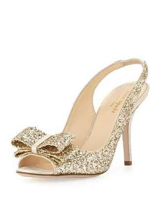 Kate Spade Charm Glittered Bow Slingback, Platinum