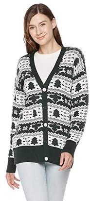 Ugly Fairisle Unisex Adult Vee Neck Button Down Jacquard Christmas Cardigan XS Deep Green/White