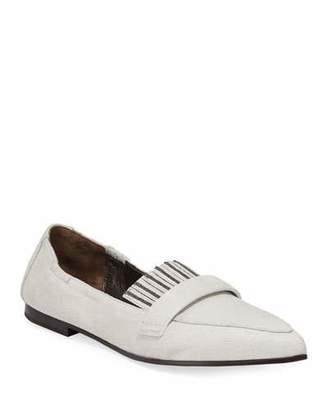 Brunello Cucinelli Point-Toe Buffed Leather Kiltie Ballet Flats