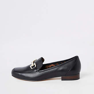 f11bbfa4ab8 at River Island · River Island Womens Black wide fit leather snaffle loafers