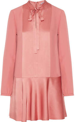 REDValentino - Satin-paneled Crepe Mini Dress - Antique rose $475 thestylecure.com