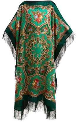 Vetements Floral Print Wool Scarf Midi Dress - Womens - Green Multi