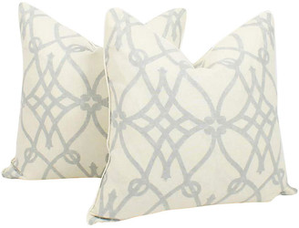 One Kings Lane Vintage Blue & Ivory Linen Trellis Pillows - Set of 2 - Ivy and Vine