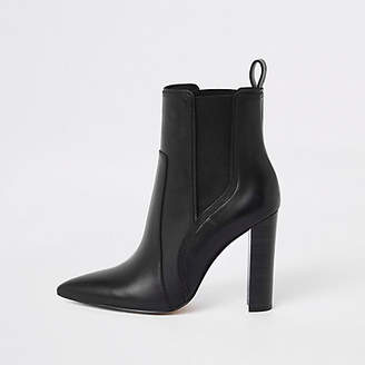 River Island Black leather pointed toe ankle boot