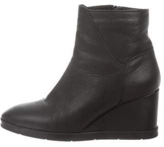 Aquatalia Leather Wedge Ankle Boots Black Leather Wedge Ankle Boots