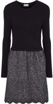 RED Valentino Paneled Two-Tone Wool-Blend Dress