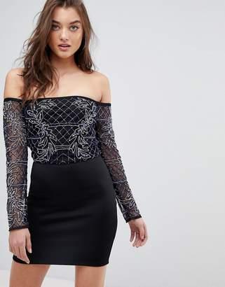 Bardot Asos Design ASOS Long Sleeve Mini Embellished Dress