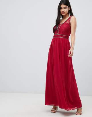 Little Mistress embellished waist maxi in berry