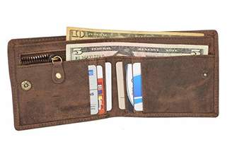 Men's RFID Blocking Cowboy Leather Bifold Wallet with Zip
