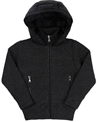 Moncler Rib-Knit & Down-Quilted Hooded Sweater-GREY $330 thestylecure.com