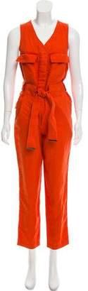 Donna Karan Linen Sleeveless Jumpsuit