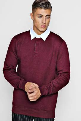 boohoo Fleece Slim Fit Rugby Top