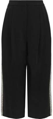 ADAM by Adam Lippes Cropped Crystal-Embellished Cady Wide-Leg Pants