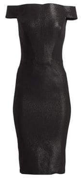 Zac Posen Off-The-Shoulder Glitter Lurex Cocktail Dress