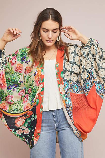 Anthropologie Dylan Floral Cocoon Kimono