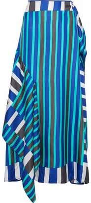 Diane von Furstenberg Draped Striped Silk-Twill Midi Skirt
