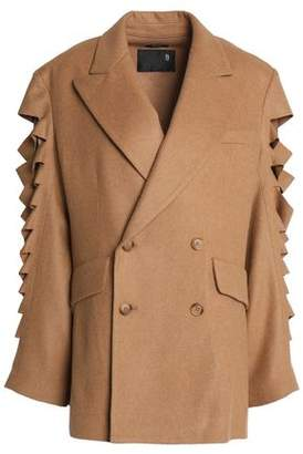 R 13 Double-Breasted Cutout Wool-Blend Coat