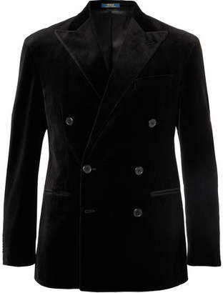 Polo Ralph Lauren Black Double-Breasted Velvet Blazer