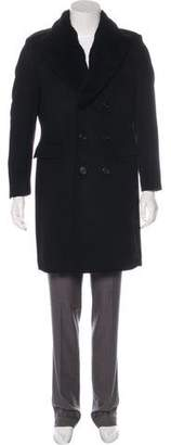 Burberry Sheepskin-Accented Wool & Cashmere Double-Breasted Coat