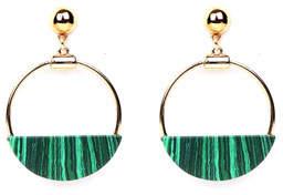 Ben-Amun Malachite Hoop-Drop Earrings