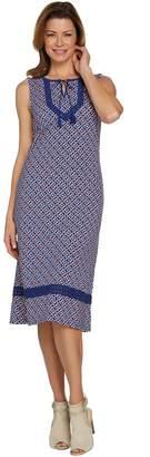 C. Wonder Petite Printed Knit Midi Dress with Lace Trim