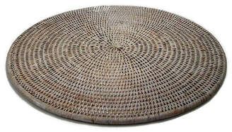 Rattan Large Round Placemat Color: White