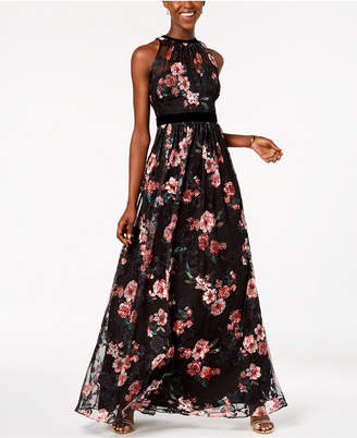 Adrianna Papell Embroidered Velvet-Trim Gown