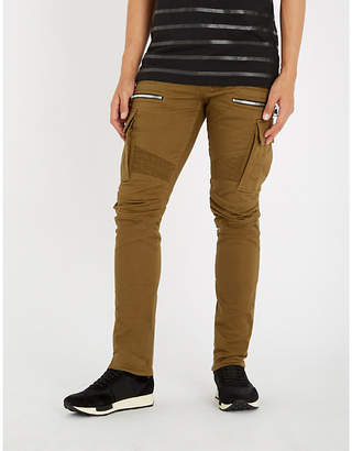 Balmain Zip-detail slim-fit cotton cargo trousers