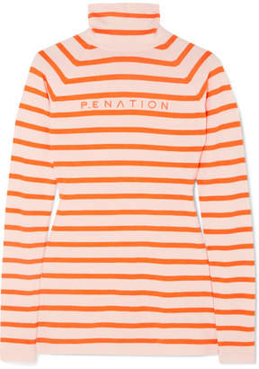 P.E Nation Woolmark Second Stroke Striped Intarsia Wool-blend Sweater - Orange