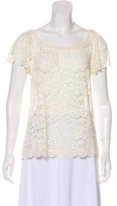 Diane von Furstenberg Lace Short Sleeve Top