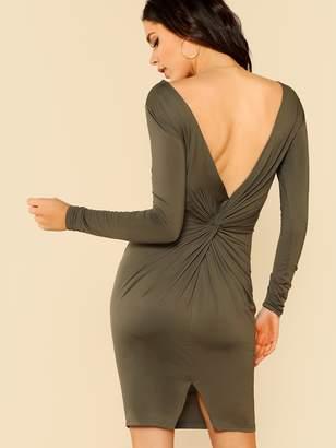 Shein Twist V Back Slit Fitted Dress
